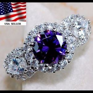 Jewelry - 4CT Amethyst White Topaz 925 Sterling Silver Ring